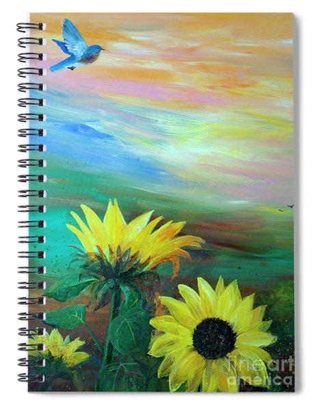 Bluebird Flying Over Sunflowers Spiral Notebook