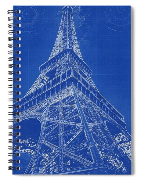 Blueprint Drawing Of Eiffel Tower In Paris Spiral Notebook