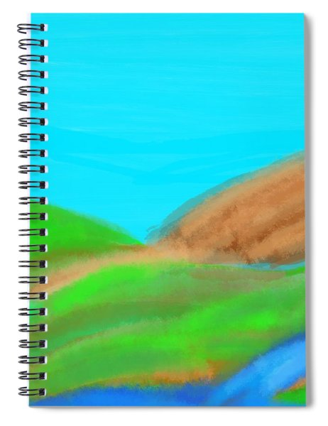 Blues And Browns On Greens Spiral Notebook