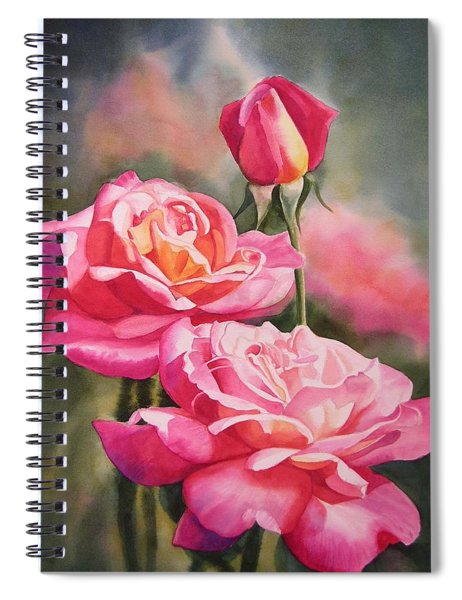 Blushing Roses With Bud Spiral Notebook