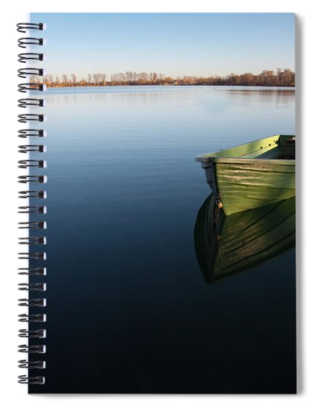 Boat On Lake Spiral Notebook