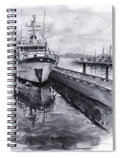 Boat On Waterfront Marina Kirkland Washington Spiral Notebook
