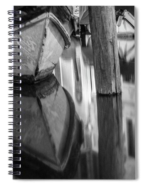 Boat Reflection In Venice Canal  Spiral Notebook