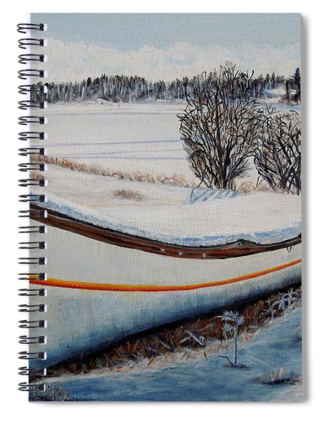 Boat Under Snow Spiral Notebook