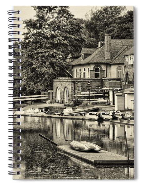 Boathouse Row In Sepia Spiral Notebook