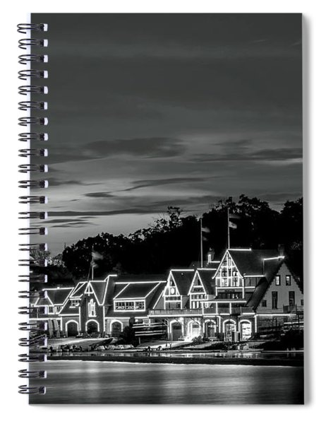 Boathouse Row Philadelphia Pa Night Black And White Spiral Notebook