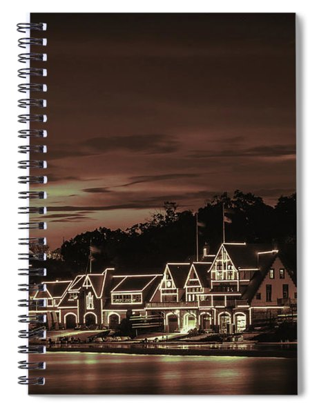 Boathouse Row Philadelphia Pa Night Retro Spiral Notebook