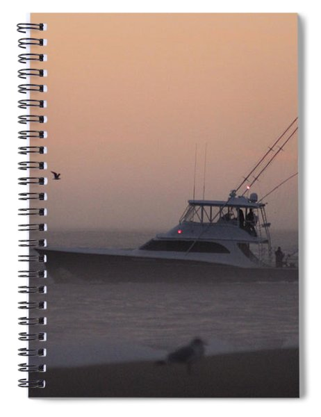 Boating Into A Foggy Dawn Spiral Notebook