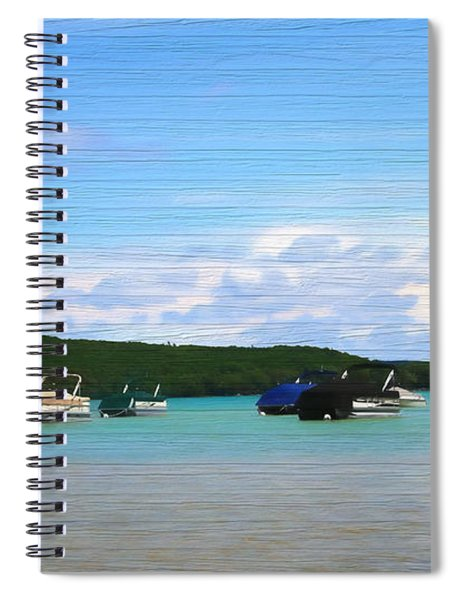 Boats In Sleeping Bear Bay Wood Texture Spiral Notebook