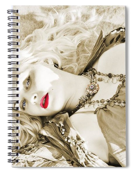 Bohemian Beauty In Sepia Spiral Notebook