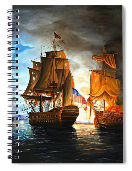 Bonhomme Richard Engaging The Serapis In Battle Spiral Notebook
