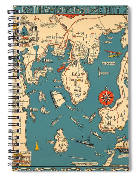 Boothbay Harbor And Vicinity - Vintage Illustrated Map - Pictorial - Cartography Spiral Notebook