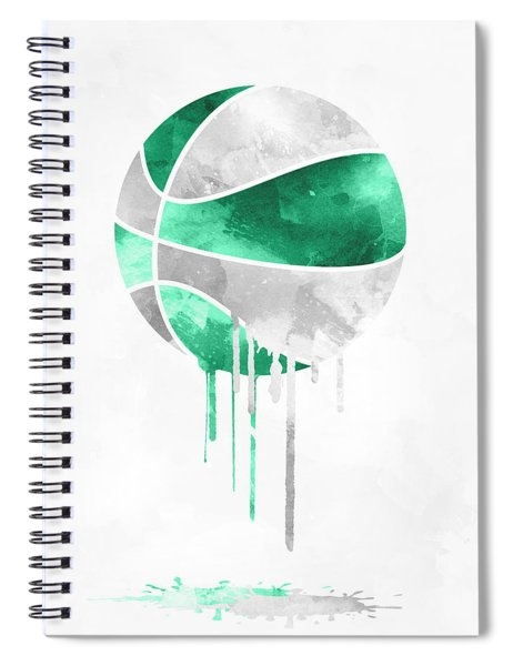 Boston Celtics Dripping Water Colors Pixel Art Spiral Notebook