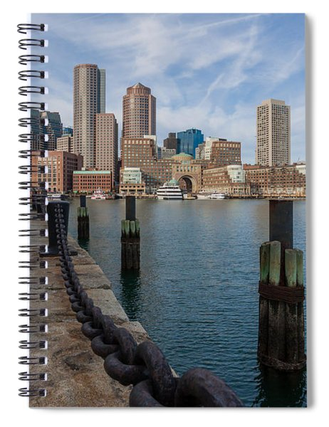 Boston Cityscape From The Seaport District 3 Spiral Notebook