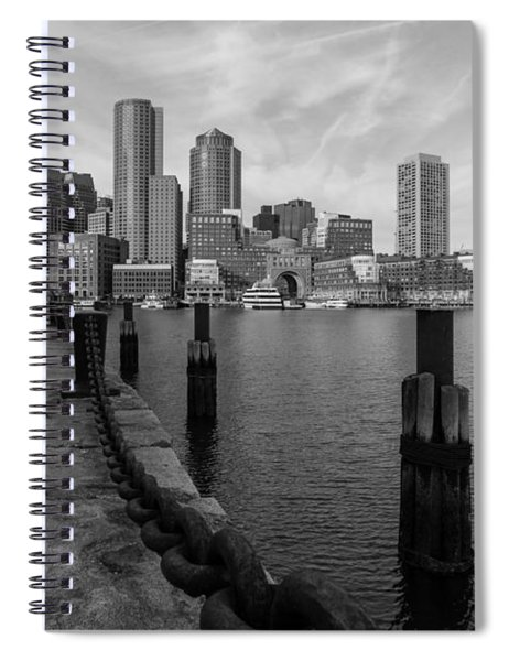 Boston Cityscape From The Seaport District In Black And White Spiral Notebook