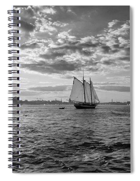 Boston Harbor Sailboat Boston Ma Black And White Spiral Notebook