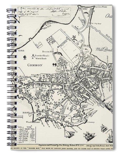 Boston Map, 1722 Spiral Notebook