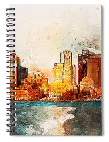 Boston, Panorama - 10 Spiral Notebook