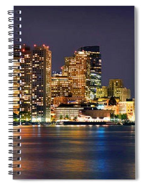 Boston Skyline At Night Panorama Spiral Notebook
