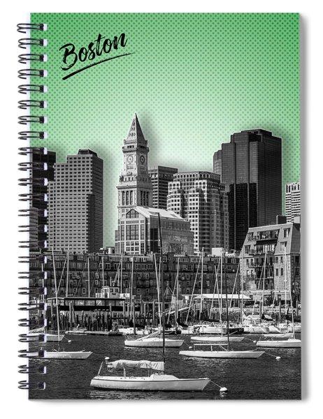 Boston Skyline - Graphic Art - Green Spiral Notebook