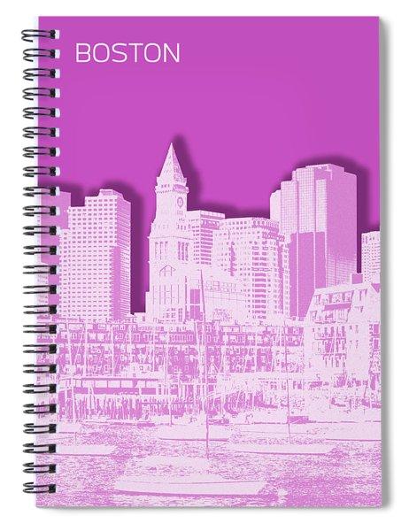 Boston Skyline - Graphic Art - Pink Spiral Notebook