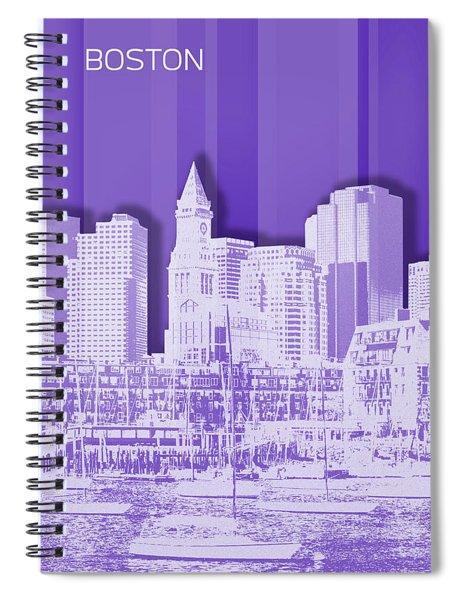 Boston Skyline - Graphic Art - Purple Spiral Notebook