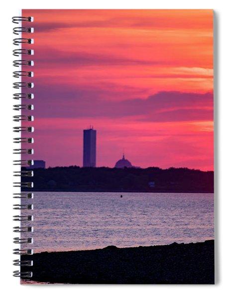 Boston Skyline Worlds End Spiral Notebook