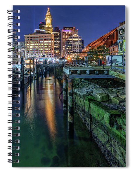 Boston's Custom House Tower From Long Wharf Spiral Notebook