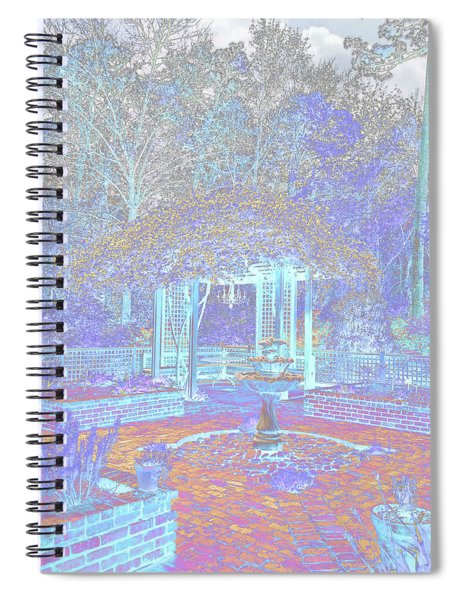 Botanical Gardens Arbor And Water Fountain - Color Invert Spiral Notebook