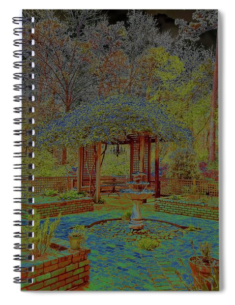 Botanical Gardens Arbor And Water Fountain - Solarized Spiral Notebook