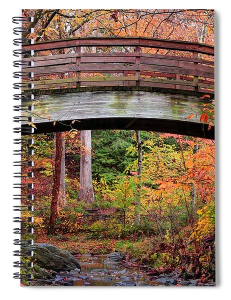 Botanical Gardens Arched Bridge Asheville During Fall Spiral Notebook