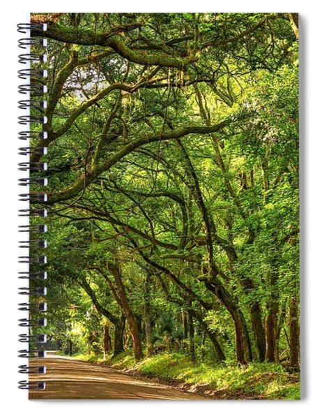 Botany Bay Edisto Island South Carolina Road Light And Shadow Spiral Notebook