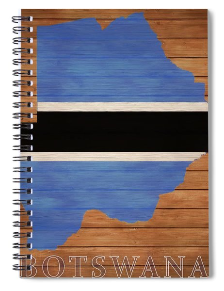 Botswana Rustic Map On Wood Spiral Notebook