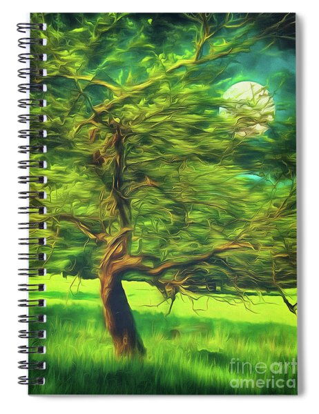 Bowing To The Moon Spiral Notebook