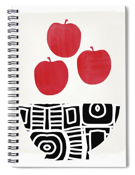 Bowl Of Red Apples- Art By Linda Woods Spiral Notebook