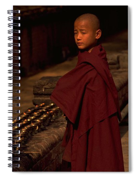 Spiral Notebook featuring the photograph Boy Buddhist In Bodh Gaya by Travel Pics