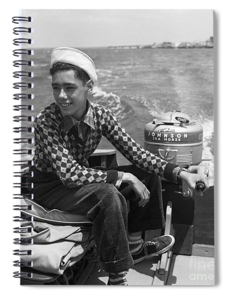 Boy Steering A Boat, C. 1950s Spiral Notebook