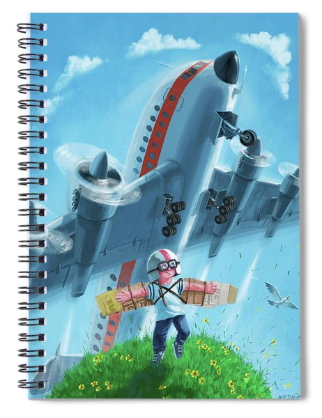 Boy With Airplane On Hilltop Spiral Notebook