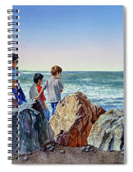 Boys And The Ocean Spiral Notebook