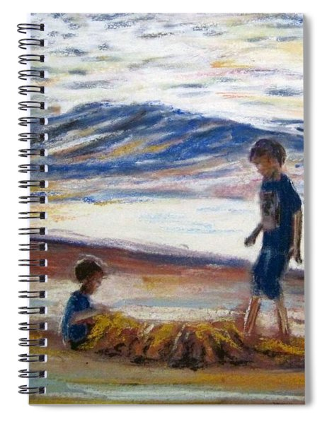 Boys Playing At The Beach Spiral Notebook