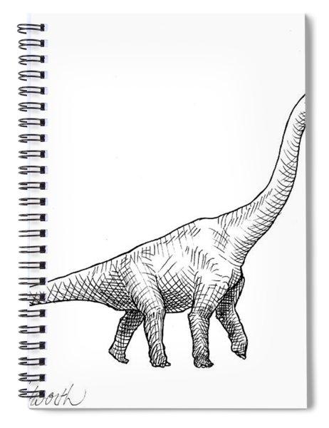 Brachiosaurus Dinosaur Black And White Dino Drawing  Spiral Notebook