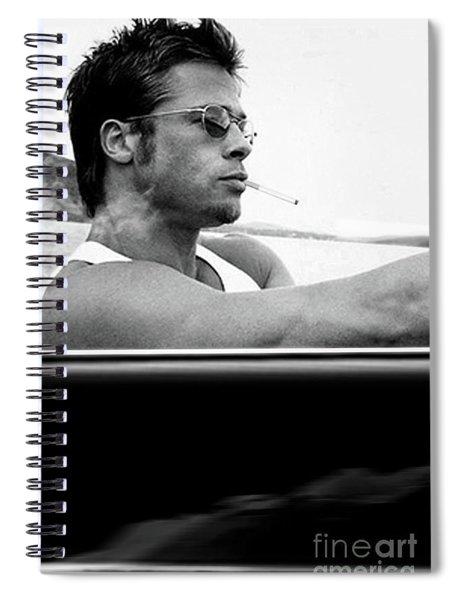 Brad Pitt, Driving Along The  Pacific Coast Highway In A 1958 Porsche 356a 1600 Speedster Spiral Notebook