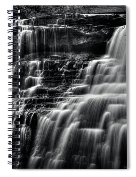 Brandywine Falls At Cuyahoga Valley National Park B W Spiral Notebook