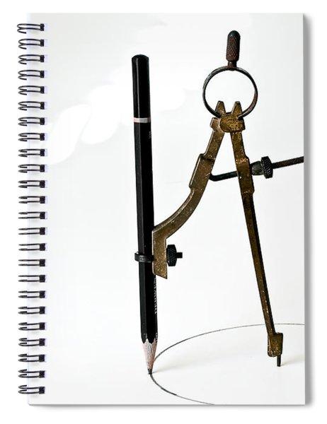 Brass Compass And Pencil Spiral Notebook