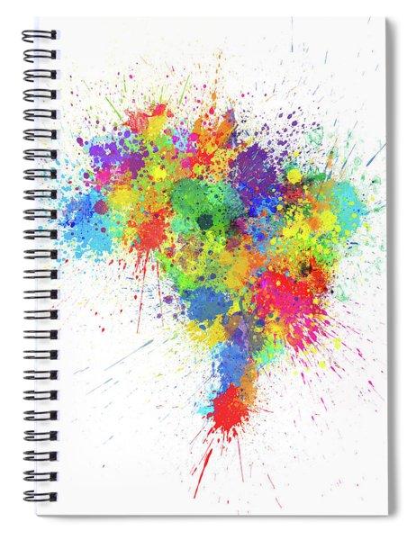 Brazil Paint Splashes Map Spiral Notebook