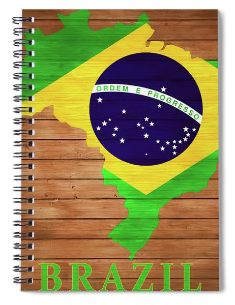 Brazil Rustic Map On Wood Spiral Notebook
