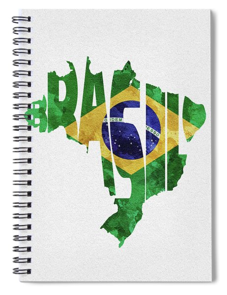 Brazil Typographic Map Flag Spiral Notebook