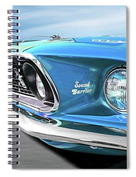 Breaking The Sound Barrier In Sky Blue - Mach 1 Cobra Jet Mustang 1969  Spiral Notebook