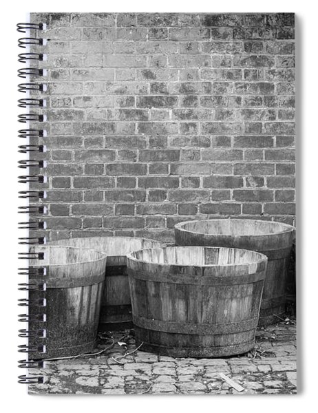 Brick Wall And Barrels B W Spiral Notebook
