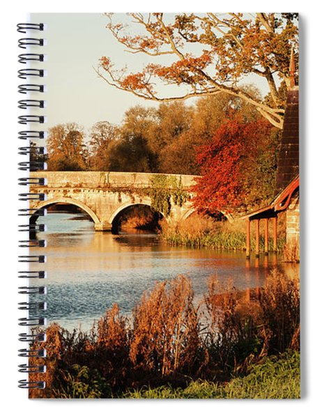 Spiral Notebook featuring the photograph Bridge And Boat House On The Rye Water - Maynooth, Ireland by Barry O Carroll
